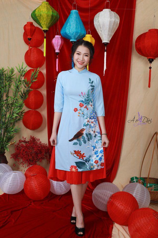 áo dài cách tân màu xanh tết