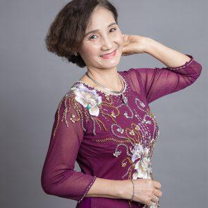 áo dài mẹ màu tím